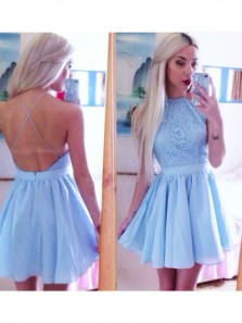 Charming A-Line Jewel Backless Short Blue Chiffon Homecoming Dress with Lace Under 100