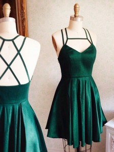 Simple A-Line Strap Square Sleeveless Dark Green Satin Short Homecoming Dress Under 100 with Pocket