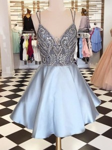 Sexy V Neck Backless Strap Silver Satin Homecoming Dress With Beading Sweet 16 Homecoming Dress