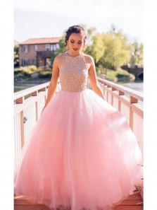 Discount Shevny Puffy Pink Beaded Long Elegant Tulle Sleeveless Prom Dresses, Cute Quinceanera Dresses