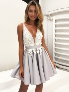 Sexy V-Neck Silver Grey Satin Satin Homecoming Dress Under 100 with Applique