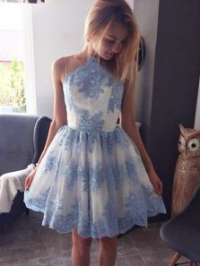 Cute A Line Blue Lace Open Back Homecoming Dresses 2018,Sweet 16 Homecoming Dress Under 100