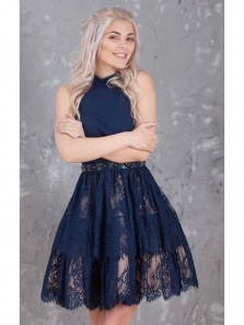 Elegant A-Line Halter Backless Short Black Homecoming Dress with Beading Lace Under 100