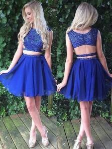 Cute A-Line Two Piece Royalblue Chiffon Homecoming Dress with Beading Sweet 16 Homecoming dress Under 100