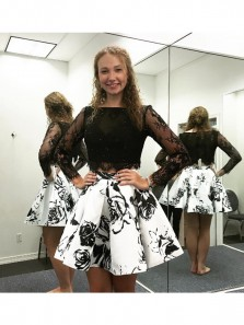 Elegant Two Piece Bateau Long Sleeves Black Homecoming Dress with Lace Beading, Floral Homecoming Dress