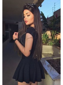 Cute A-Line Two Piece V Neck Short Black Elastic Satin Homecoming Dress With Applqiue, Little Black Dress, Under 100