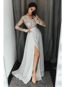 Sexy V-Neck Open Back Split Long Sleeves Light Grey Chiffon Prom Dress with Appliques