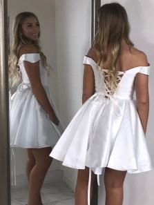 Cheap White Satin Homecoming Dresses Off Shoulder Short Prom Dress Under 100