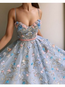 Cute Ball Gown Sweetheart Straps Blue Lace Court Train Wedding Dress With Applique