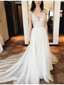 Elegant V Neck Backless Spaghetti Straps Lace Ivory Chiffon Prom Dress with Court Train, Beach Wedding Dress