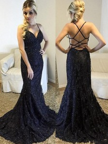Sexy Mermaid V Neck Black Lace Long Prom Dress, Backless Evening Dress With Straps