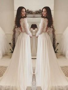 Elegant Scoop Ivory Lace & Chffion Long Prom Dress, Long Sleeves Prom Dress ,Custom Made Evening Dress