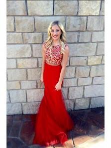 Charming Red Mermaid Two Piece Red Lace Prom Dress, Chiffon Long Prom Dress, Custom Formal Evening Dress