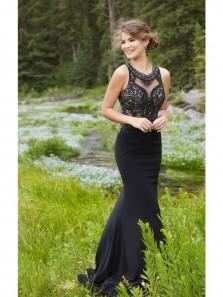 Elegant Mermaid Beading Black Elastic Satin Prom Dress, High Quality Custom Handmade Party Dress