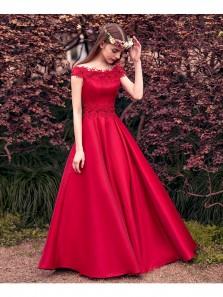 Cute A Line Off Shoulder Fairy Red Satin Prom Dress, Custom Made Elegant Evening Dress, Lace Quinceanera Dresses Teens