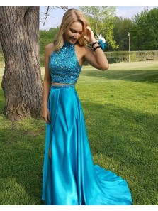 A Line Blue Satin Two Pieces Prom Dress, Sexy Halter Party Dress, Beading Evening Dress, Side Slit Party Dress