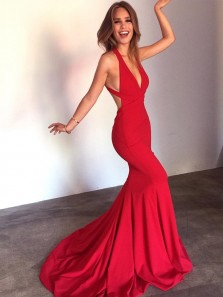 Elegant Halter Mermaid Wine Red Elastic Long Prom Dress with Train, Sexy Backless Custom Made Evening Dress