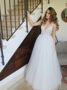Elegant A Line V Neck White Lace Tulle Long Wedding Dress with Train