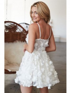 Cute A Line V Neck Spaghetti Straps White Lace Homecoming Dress Discount Short Homecoming dress