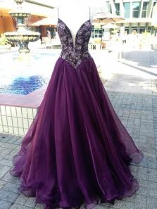 Elegant Deep V Neck Open Back Spaghetti Straps Beads Purple Chiffon Long Prom Dress with Slit