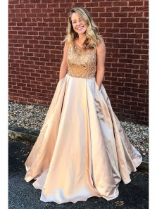Luxurious Beads Champagne Satin Long Prom Dress with Pockets, Elegant Custom Made Formal Evening Dress
