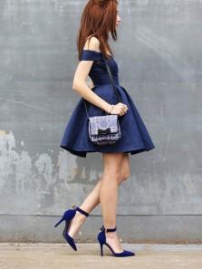 Cute A-Line Off the Shoulder Navy Blue Satin Short Homecoming Dress ,Cheap Homecoming Dress Under 100