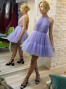 Unique A-Line Halter Backless Pleated Lavender Tulle Homecoming Dress, Cute Formal Homecoming Dress, Bubble Skirt