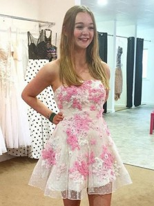 Cute Sweetheart Pink Lace Homecoming Dress, Cheap White Short Homecoming Dress, Junior Homecoming Dress