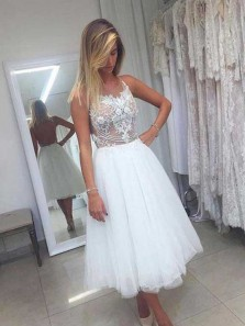 Elegant A Line Scoop White Tulle Homecoming Dress with Applique, Tee Length Open Back Homecoming Dress
