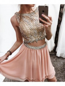 Unique Two Piece Brush Pink Chiffon Short Prom Dress, Gorgeous Beading Homecoming Dress