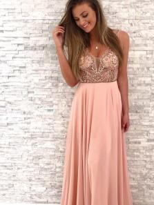 Charming V Neck Open Back Brush Pink Chiffon Long Prom Dress with Beading ,Cheap Custom Made Evening Dress, Popular Party Dress