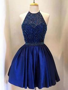 Sherri Hill Cute Royal Blue Beaded Halter Homecoming Dresses Backless