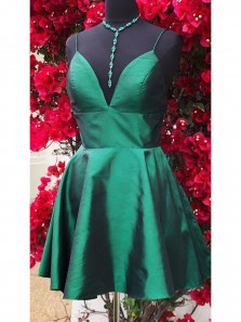 Cute A Line V Neck Straps Short Homecoming Dress, Black Satin Party Dress, Under 100 Homecoming Dress