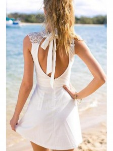 Cute White Homecoming Dress with Lace, Short Prom Dresses, Simple Cheap Open Back Homecoming Dress
