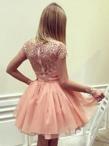Cute A Line Scoop Cap Sleeve Brush Pink Chiffon Lace Short Homecoming Dress, Charming Short Prom Dress