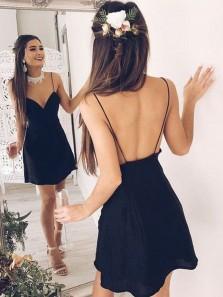 Cute V Neck Spaghetti Straps Open Back Navy Chiffon Homecoming Dress, Simple Short Homecoming Dress, Under 100 Homecoming Dress