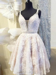 Cute A-Line V Neck Straps Open Back White Lace Short Homecoming Dress with Beading