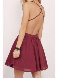 Cute A Line Sweerheart Open Back Burgundy Lace Short Homecoming Dress, Under 100 Homecoming Dress
