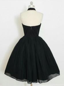 Charming A Line Halter Backless Black Chiffon Short Homecoming Dress, Little Black Dress Under 100