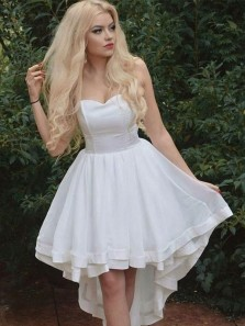 Cute A Line V Neck Spaghetti Straps High Low White Short Dress, White Homecoming Dress