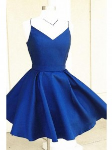 Simple A Line V Neck Spaghetti Straps Elastic Satin Royal Blue Short Dress, Cute Homecoming Dress Under 100