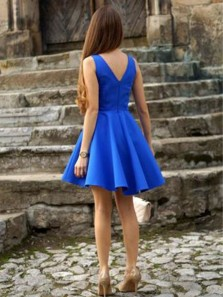 Simple A Line V Neck Open Back Royal Blue Short Dress, Cute Short Homecoming Dress Under 100