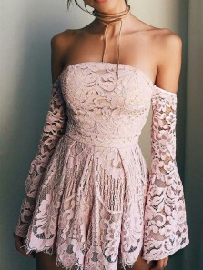 Sweet and Cute A Line Sweetheart Long Sleeve Brush Pink Short Dress, Lace Homecoming Dress Under 100 HD0711011
