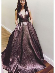 Unique and Charming Ball Gown V Neck Cross Back Prom Dress with Pocket, Formal Evening Dress