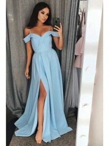 Charming A Line Slit Off the Shoulder Backless Light Blue Chiffon Prom Dress, Long Formal Evening Dress
