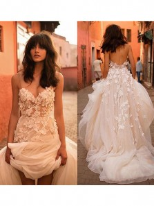 Cute Fairy A Line V Neck Spaghetti Straps Backless Ivory Tulle Wedding Dress with Applique,Lace Beach Wedding Dress,
