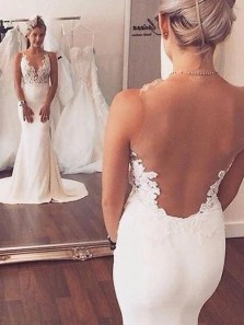 Gorgeous Mermaid Deep V Neck Backless White Wedding Dress with Applique ,Sexy Slit Wedding Dress with Train
