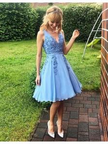 Cute A Line V Neck Blue Chiffon Short Homecoming Dresses with Applique ,Fairy Knee Length Graduation Dresses, Short Prom Dresses