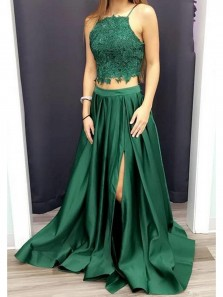 Elegant A Line Two Piece Backless Slit Green Prom Dress, Long Satin Evening Dress with Appliques