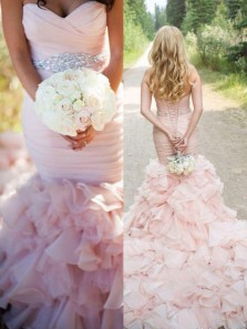 Gorgeous Mermaid Sweetheart Beading Pink Organza Wedding Dress with Court Dress